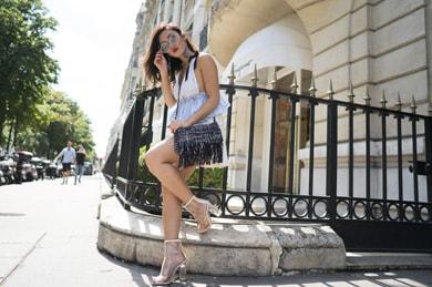Street style på gatorna i Paris! Louise Xin med med solglasögon från Eyerim.