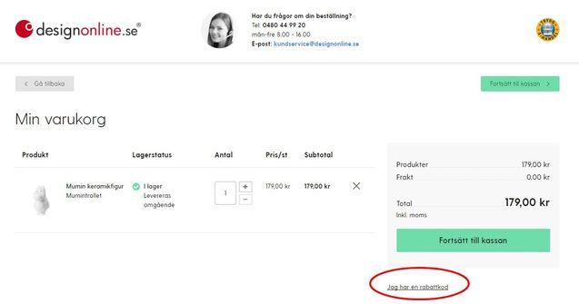 Klicka på rutan väl på designonlines sida och ange din rabattkod.