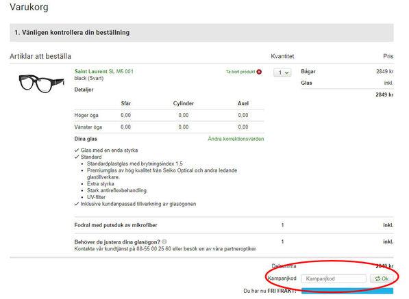 Kampanjkoder och rabatter anges i rutan på bilden på misterspex.se.