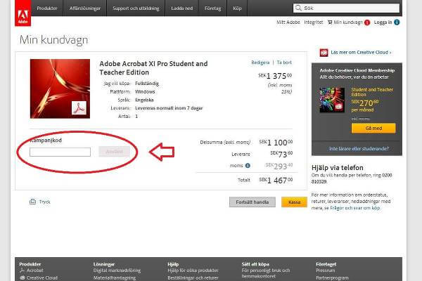 Ange din Adobe Systems rabattkod