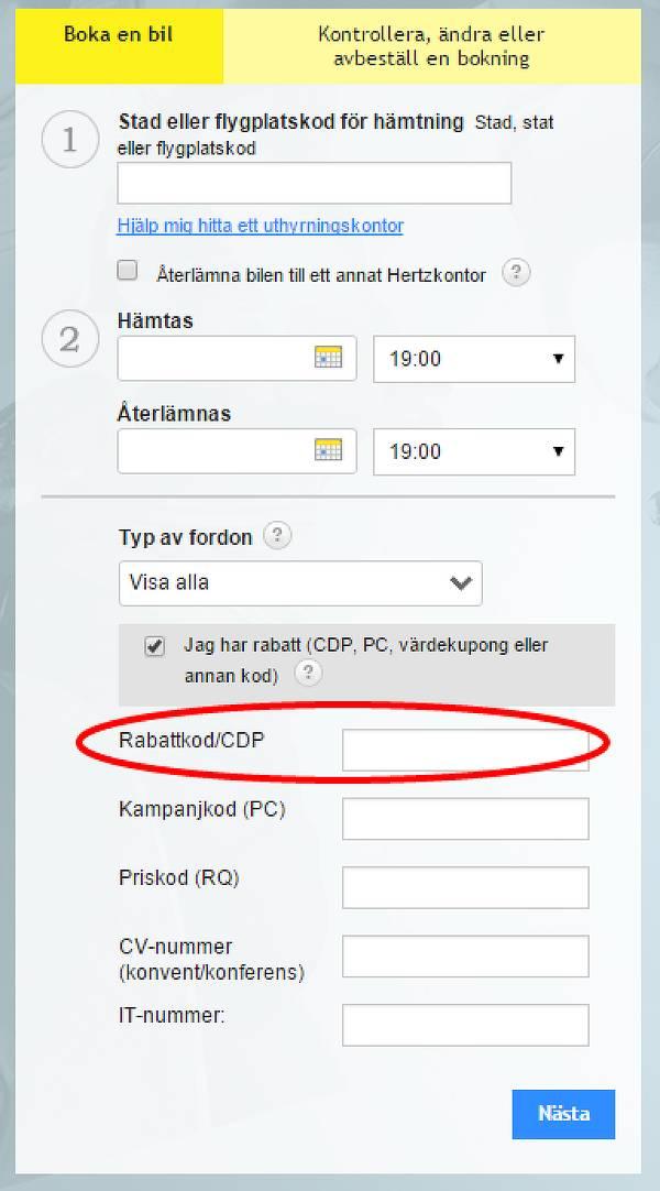 """Rabattkodsfältet öppnas genom texten """"Jag har rabatt""""."""