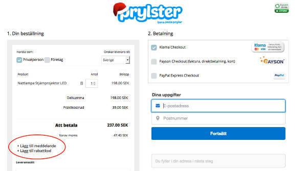 Såhär löser du in en rabattkod hos Prylster.se.