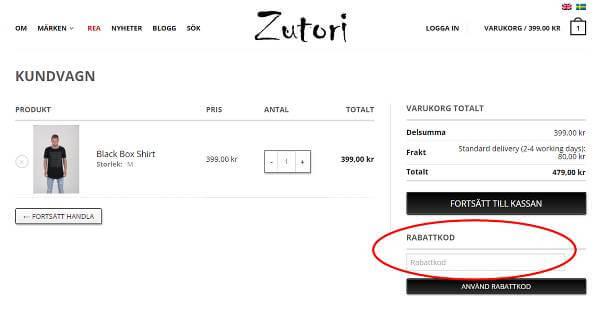 Rabattkoder skrivs in i markerad ruta hos Zutori.