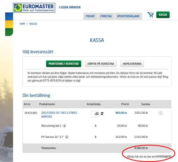 Euromasters rabattkoder skrivs in här.