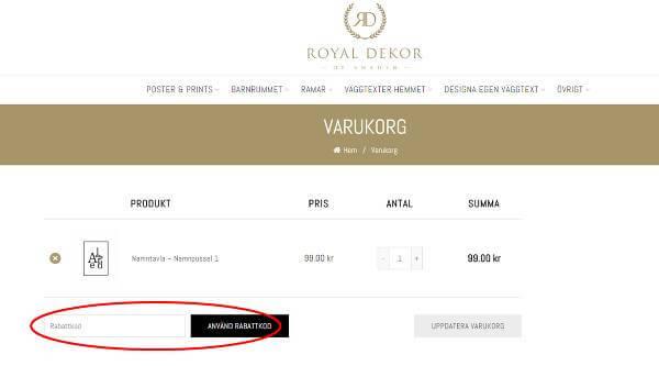 Rabattkoder går att lösas in hos Royal Dekor.