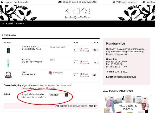 Spara pengar genom att skriva in en rabattkod hos Kicks.