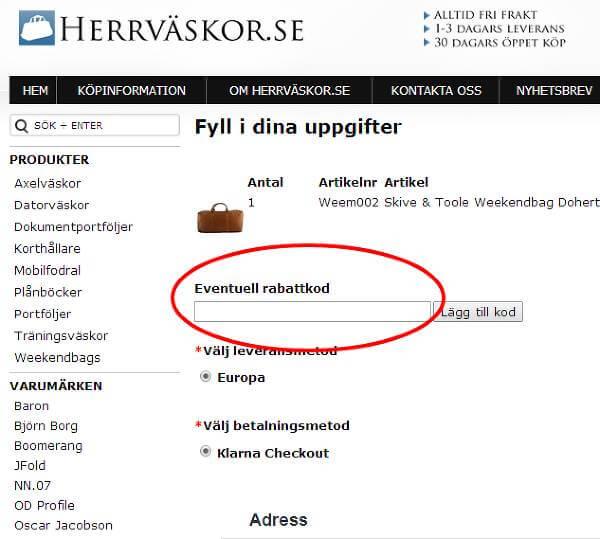 Om du vill använda en rabattkod hos Herrväskor.se...