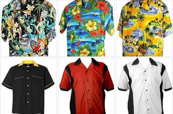 Exempel på Hawaii- och bowlingskjortor hos Funkhouser