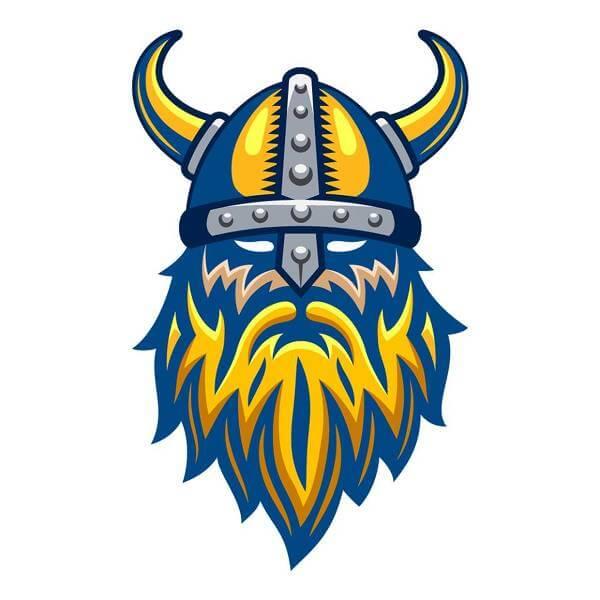 Vikingsymbolen är given i sammanhanget blågult