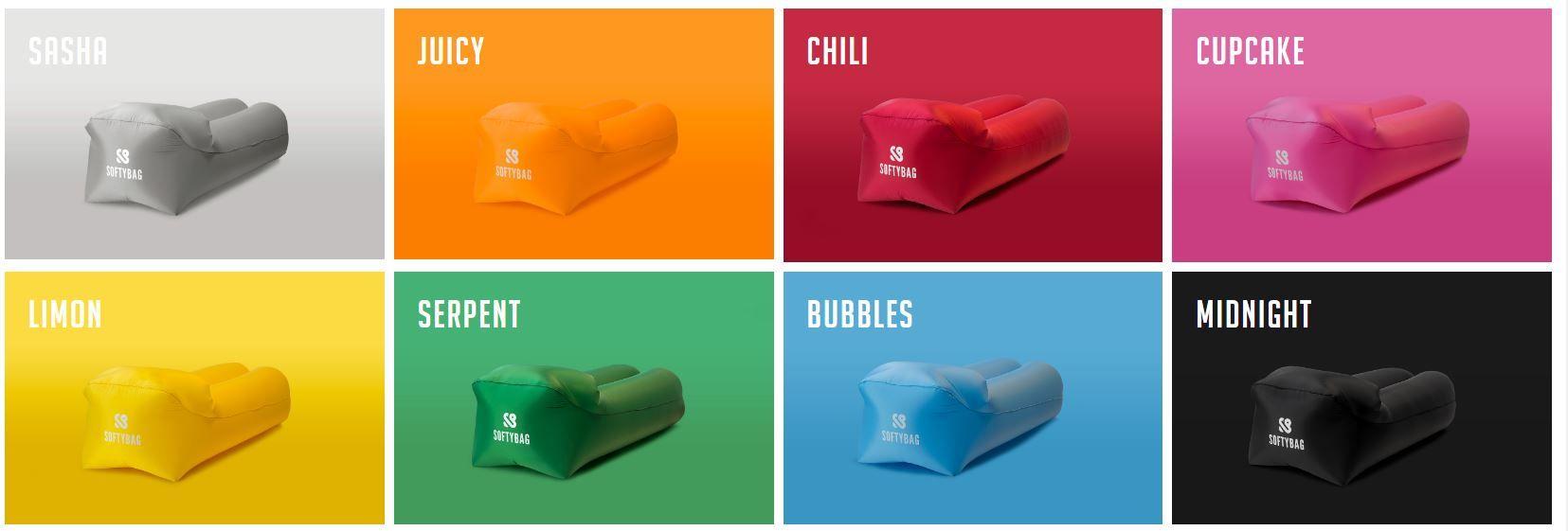 Softybags i olika färger.