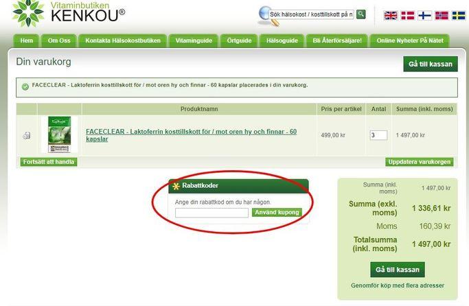 Rabattkoder hos Vitaminbutiken Kenkou fylls i i nästsista steget.