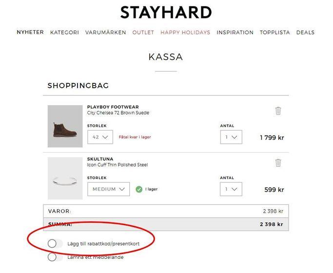 Rabattkoder går att tillföra hos Stayhard i kassan.