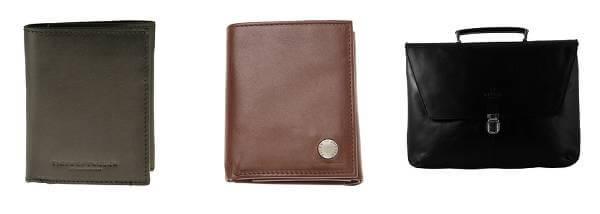 Plånböcker och dokumentportföljer i läder