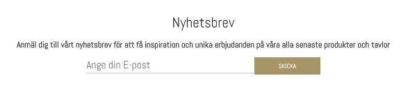 Såhär ser sektionen ut där man anmäler sig till nyhetsbrevet på www.royaldekor.se.