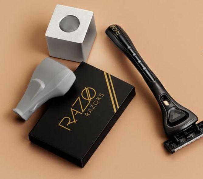 De olika produkterna hos Razo: rakhyvel, reseskydd och hyvelställ.