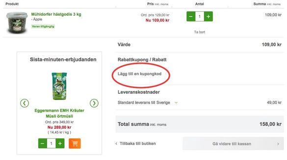 """Koder hos zooplus skrivs in under """"Lägg till en kupongkod""""."""