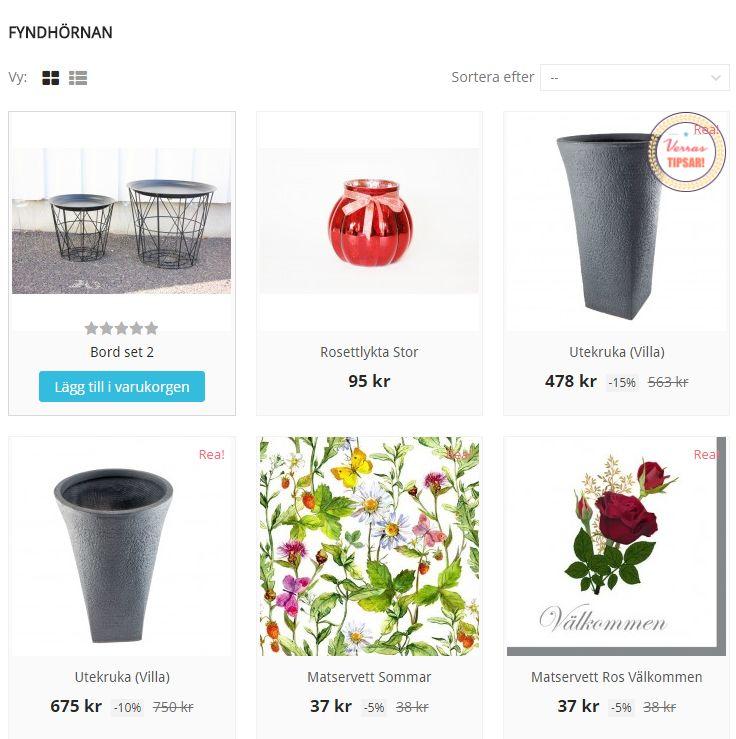 På Verras.se finns en speciell fyndhörna där man hittar ständigt låga priser. Utbudet uppdateras kontinuerligt.