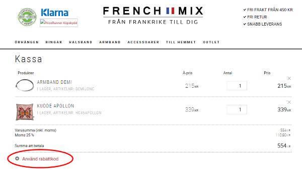 Rabattkoden som du hittar på vår sida skriver du in i den inringade rutan när du kommer till kassan hos Frenchmix.