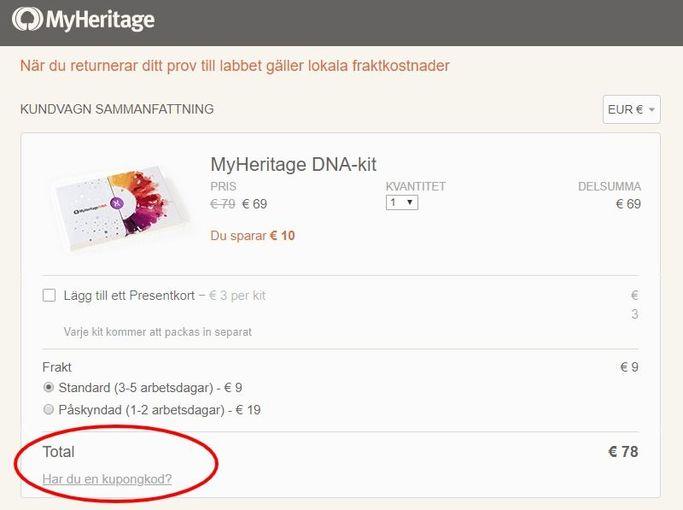 Såhär ser kundkorgen ut hos MyHeritage om man har tänkt beställa ett DNA-test för att upptäcka sina rötter.