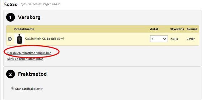 I kassan kan man klistra in sin rabattkod för ett billigare pris hos Bloomify.