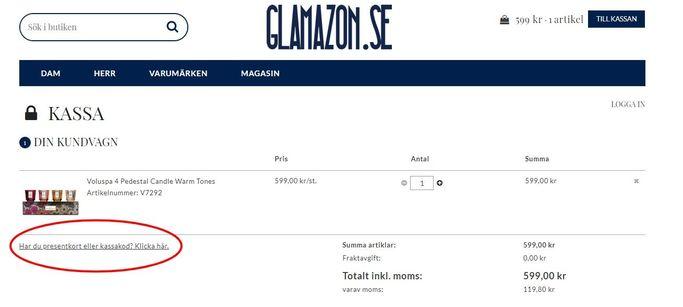Klicka på angiven ruta i kassan på Glamazon.se och klistra eller skriv in din rabattkod.