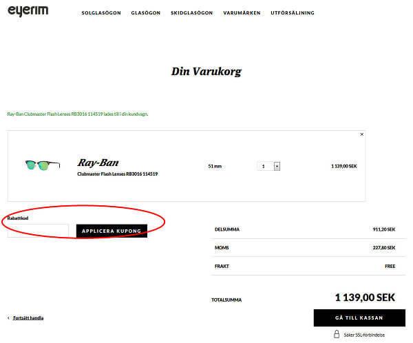 Så löser du in din rabattkod hos Eyerim.se.