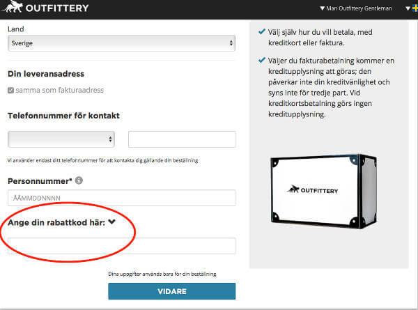 Så lägger du in din rabattkod från Rabattkalas hos Outfittery.se.