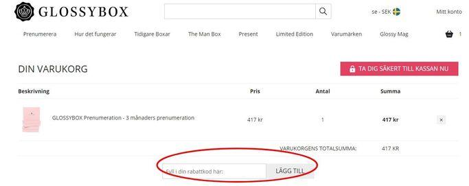 Fyll i rabattkoden genom att skriva in den eller klistra in den på Glossybox.se.
