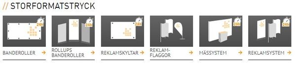 Hitta det du söker igenom ikonerna på Onlineprinters hemsida.