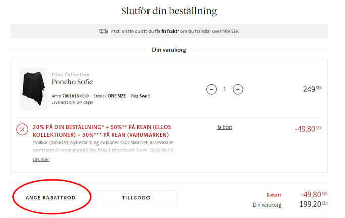 Ange rabattkod i ditt inringade fältet på Ellos.se.