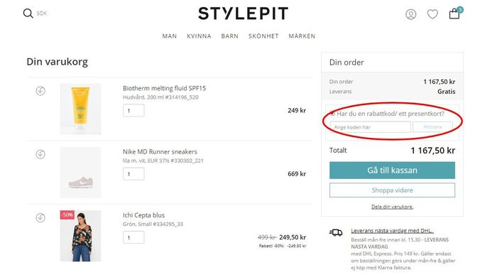 Rabattkoder läggs till i varukorgen hos STYLEPIT.