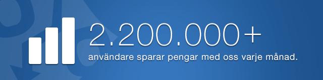 2.200.000+ användare sparar pengar med oss varje månad.